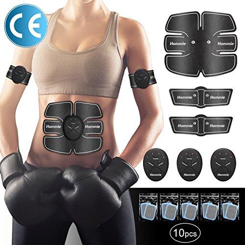 Smart Fitness-Gerät EMS Bauchmuskel Trainingsmaschine, Bauchgürtel Muskelaufbau ABS, Wireless Portable Bauch/Arm/Bein Trainer für Männer oder Frauen, von Hommie, Schwarz (Smart Trainer)