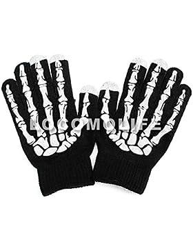 LOCOMO Hombre Mujer Niña pantalla táctil guantes de punto, calavera esqueleto faf043negro blanco