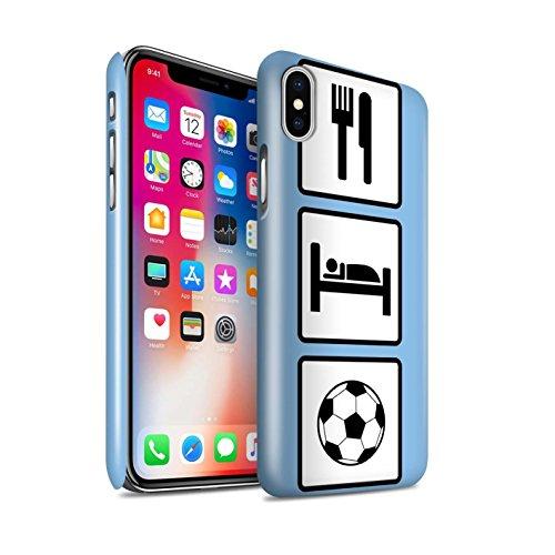 STUFF4 Glanz Snap-On Hülle / Case für Apple iPhone X/10 / Heben/Turnhalle/Blau Muster / Essen/Schlaf Kollektion Fußball/Blau