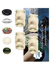 Sturzgläser Lot de 100mini 107ml rond Verres Miel Caviar Fruits Bocaux Confiture avec couvercle To 48Noir Vitrea Recette Flyer