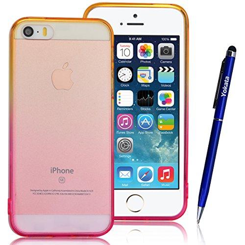 iPhone 5 / 5s / SE Hülle, Yokata Durchsichtig Gradient Weich Jelly Weich Silikon Gel Case Ultra Slim Cover Schutzhülle Sehr Dünn Handyhülle + 1 x Kapazitive Feder Gelb und Rose