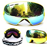 Ski Goggles for Men Women & Youth with Full UV Protection, Professional Outdoor Snowmobile Ski Glasses with Anti-Slip Strap, Windproof, Anti-Fog, Anti Glare (Frame Yellow)