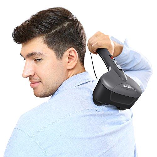 Naipo Handmassagegerät Vibration Perkussion Massagegerät mit Infrarot Wärme Funktion und austauschbare Knoten für Hals Schulter Rücken Bein (Beine Gleiten)