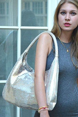 Hobo Bag Leder Schultertasche aus hochwertigem italienischen Leder in verschiedenen Farben. Edel und exklusiv. 100% echtes Leder. Handmade in Milano in einer Familien-Manufactur: City Sunrise Gold