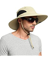 EINSKEY Wide Brim Sun Hat Summer UV Protection Beach Hat Showerproof Safari  Boonie Hat Foldable Fishing 8d2ed459d7da