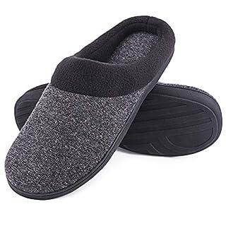 SoftPeds Herren Komfort Wollstoff Anti-Rutsch Hausschuhe, Atmungsaktive Memory Foam Pantoffeln (42/43 EU, Dunkelgrau)