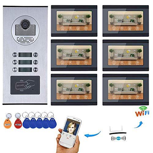 Wasserdichte Kamera Haustür Klingel Video-Gegensprechanlage Wohnungs video türklingel satz 7 '' HD-Anzeige 6 Innengeräte 1000TVL Unterstützung überwachung, entsperren, zwei gegensprechanlage (Haustür-kameras)