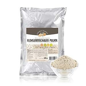 Flohsamenschalen Pulver 95% fein gemahlen, geprüfte Lebensmittelqualität, 500g Beutel