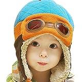 Berretti e cappellini bambino, invernale Cappa calda Beanie Earflap Cappello Per i più piccoli Ragazzino Aviatore pilota (Blu)