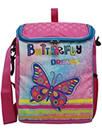 Shopaholic Attractive Butterfly Dreams Featured Box Shaped 2 In 1 School Bag And Sling Bag For Kids