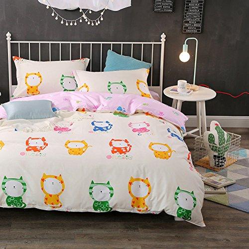 Geo Tröster Set (warmgo Home Bettwäsche Set Full/Queen Size für Kinder Cute Cat Muster Bettbezug Sets 4-teiliges Bettbezug-Set ohne Tröster)