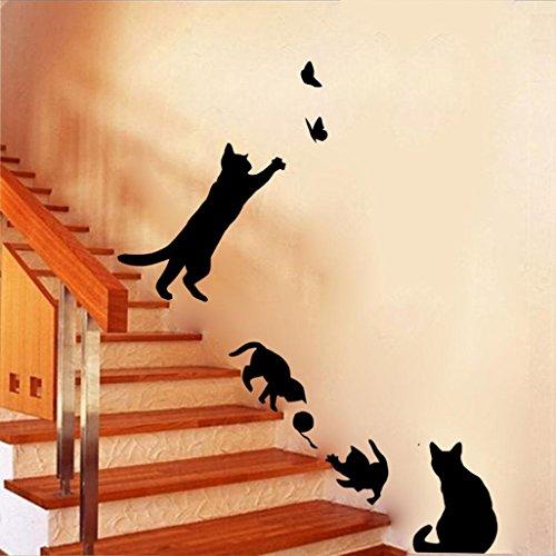 Ouneed® Wandaufkleber Wandtattoo Wandsticker , Katzen Schmetterlings Wand Aufkleber Kunst Abziehbild Wand Tapeten Dekor DIY