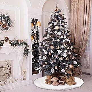 DECARETA-Baumdecke-Weihnachtsbaum-Wei-Christbaumdecke-78cm-Durchmesser-Rund-Weihnachtsbaumdecke-Plsch-Weihnachtsbaum-Rock-Tannenbaum-Christbaum-Rock-Dekoration-Ornaments-fr-Weihnachten