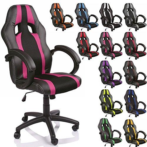 TRESKO-Chaise-Fauteuil-sige-de-bureau-racing-sport-ray-ergonomique-inclinable-accoudoirs-rembourrs-de-13-couleurs-diffrentes-Lift-SGS-contrl-noirrose