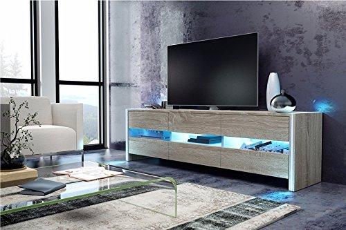 SKYLIGHT - Mueble TV / Banc TV (140 cm, Effet chêne)