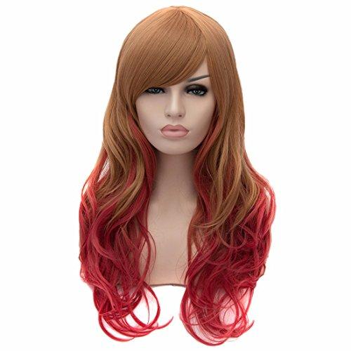 Femmes Élégantes 60Cm Résistant À La Chaleur Perruques De Cheveux Ondulés Naturel Cosplay Longue Perruque Frisée