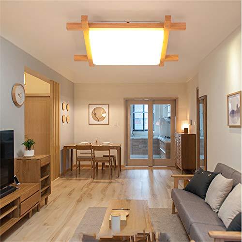 Deckenleuchte Holz Lampe Platz Holzlampe Eiche Deckenlampe Schlafzimmer Vintage Leuchte Decke Licht Retro Mit Led Rustikal Zimmerlampe Küchenleuchte Innen Wohnzimmer (Weißes Licht, 50 * 9cm) -