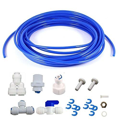 lemoy Kühlschrank Anschluss und Ice Maker Kit für Umkehrosmose Wasser Systemen, 16Feet 1/10,2cm mit 1/10,2cm Schiebemechanismus und Compression Fittings, blau - Kühlschränke Ice Maker Mit