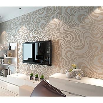 QIHANG Moderne Luxus Abstrakte Kurve 3d Tapete Rolle Beflockung Für Striped  Cremeweiß Und Silber Farbe 0.7