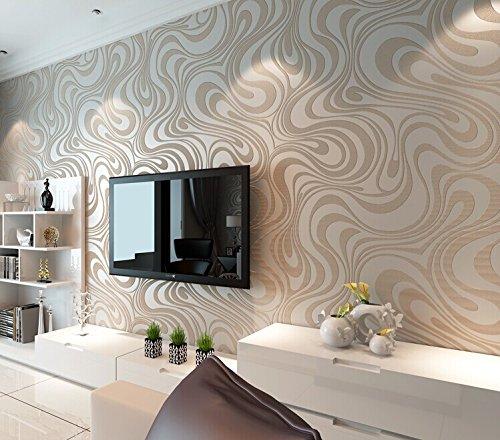 QIHANG Moderne Luxus Abstrakte Kurve 3d Tapete Rolle Beflockung für Striped cremeweiß und silber Farbe 0.7m * 8.4m = 5.88㎡