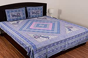 Sheetkart Safari Cotton Single Bedsheet With 1 Pillow Cover - Light Grey