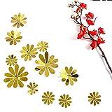 PET Spiegel 3D Blume Schlafzimmer Wohnzimmer Wandaufkleber Dekoration (Farbe : Gold)