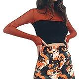 Oksea Damen Mesh T-Shirt Damen Rollkragenpullover Langarm Starry Mesh Perspective Kurzes Top Kontrastfarbenes Königspleiß Oberteil