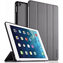 iPad Air 2 Hülle, EasyAcc Ultra Slim Cover Schutzhülle Bumper Lederhülle mit Standfunktion / Auto Sleep Wake Up Funktion für iPad Air 2 2014 Modell Number A1566/ A1567 - Grau, Ultra Slim