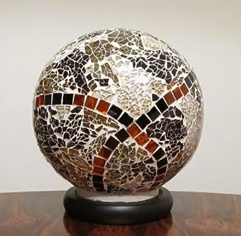 grosse mosaik lampe glas kugel bunt mit ornamente mosaikglas leuchte beleuchtung. Black Bedroom Furniture Sets. Home Design Ideas