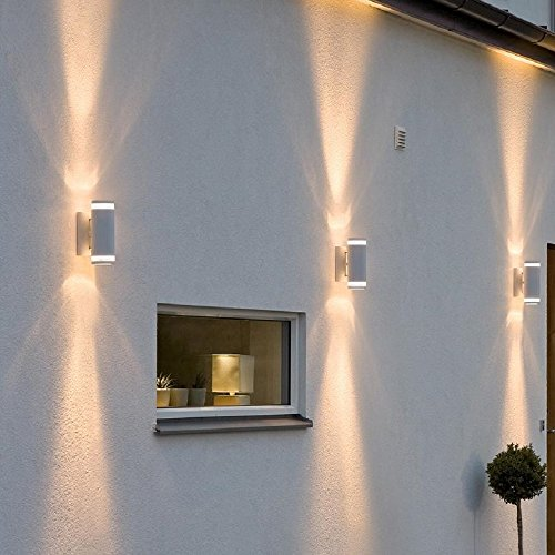 Up & Down Wandleuchte weiß | 2x 35W GU10 Leuchten inklusive | Außenleuchte rund | Außenwandleuchte Terrasse & Hauseingang | IP44 + 2-flammig + dimmbar + winterfest