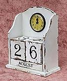 DanDiBo Uhr mit Kalender 14B142 Shabby Kaminuhr Standuhr 25 cm Vintage Quarzuhr (Weiß)