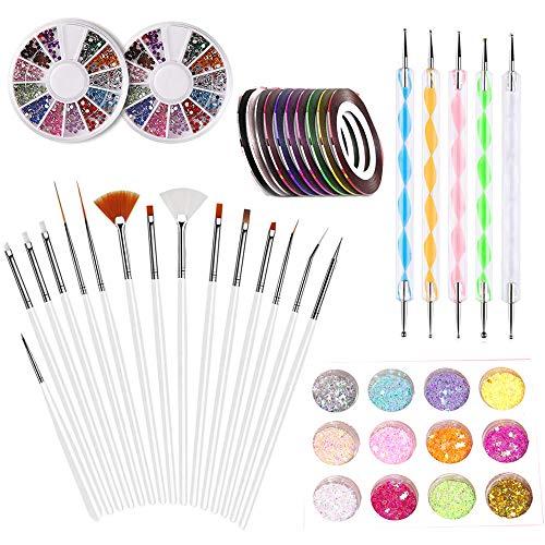 LABOTA Nail Art Design-Set, 5-teiliges Punktstift, 15-Malpinsel-Set, 2 Boxen 12 Farben Strasssteine, 10 Streifenband und 1 Box Nail Glitter für Nagelkunst -