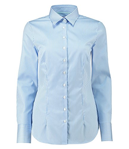 Hawes & Curtis Damen Executive Bengal Gestreift Tailliert Kragenshirt Business Hemd Top 22 Blau/Weiss (Nadelstreifen Oxford-hemd)