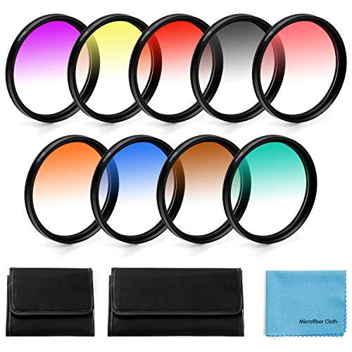 62mm Graduierte Farbe Objektiv-Filter,Fotover 9 Stück Graduated Color Lens Filter Set für Canon Nikon Sony Pentax Olympus Fuji DSLR Camera mit Linsenfilter Beutel und Linsenreinigungstuch
