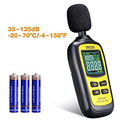 URCERI Schallpegelmessgerät - Digital Sound Level Meter Lärm-/ db-Messgerät mit Messbereich 35dB - 135dB, Max / Min / Haltedaten, Temperaturmesser und LCD-Display, inkl. Batterie