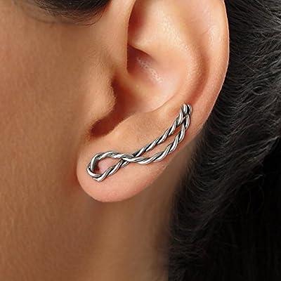 Boucles d'oreilles grimpeur en argent sterling 925 oxydé, fait à la main par Emmanuela, poignets de boucles d'oreilles modernes, cadeau de bijoux elfe de fée, manchette de mode minimaliste