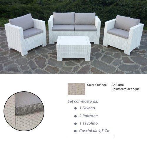 divano con poltrone e tavolino/salotto/salottino in polyrattan per esterno/arredo giardino