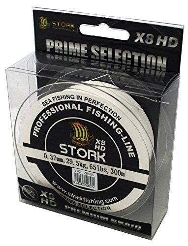 Stork HDx8, 8-Fach geflochtene premium Angelschnur 300m (Weiß, 30 lbs / 13.6 kg / 0.22 mm)
