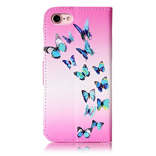 Voguecase Pour Apple iPhone 7 4,7 Coque, Étui en cuir synthétique chic avec fonction support pratique pour iPhone 7 4,7 (crâne 06)de Gratuit stylet l'écran aléatoire universelle papillon bleu 08
