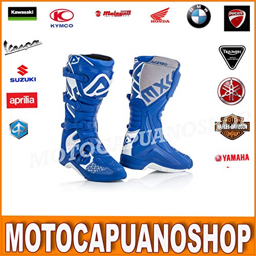 STIVALI TG.44 ACERBIS X-TEAM BOOTS ENDURO CROSS QUAD BLU BIANCO