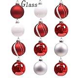 Valery Madelyn 12 Stücke 6CM Glas Weihnachtskugeln Set Lieber Weihnachtsmann Thema Rot Weiß Silber Christbaumkugel mit Aufhänger Weihnachtsbaumschmuck Weihnachten Dekoration