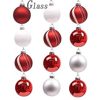 Valery Madelyn 6pcs Bolas de Navidad de Cristal de 8cm, Adornos de Navidad para Árbol de Vidrio, Bolas de Navideños Decoración para Colgante