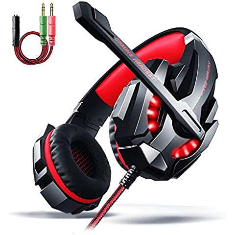 Gaming Headset PS4, AOSO G9000 LED Light Gaming Headphone Cancelación de ruido estéreo para PC portátil PS4 Xbox One con micrófono y control de volumen y cable de divisor de audio de 3,5 mm (negro y rojo) - Empaquetado al por menor