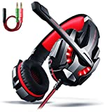 Gaming Headset PS4, Aoso G9000 3,5mm Stereo Gaming Kopfhörer PC mit LED Licht Mikrofon In-line...