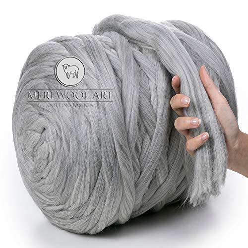 Meriwoolart 100% lana merinos per lavorare a maglia e uncinetto - lana grossa spessore 4-5 cm - lana merino ideale per sciarpe e coperte (light grey melange, 250g)