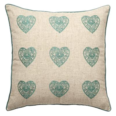Catherine Lansfield Home Vintage Hearts Cushion Cover, Duck Egg, 45 x 45 Cm - low-cost UK light shop.