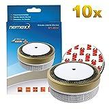 10x Nemaxx Detector de Humo M1-Mini Dorado - sensibilidad fotoeléctrica - Certificado VDS y con batería de Litio Tipo DC3V - Conforme la Norma DIN EN1
