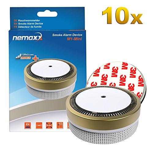10x Nemaxx M1-Mini Rauchmelder goldfarben - fotoelektrischer Rauchwarnmelder nach neuestem VdS...