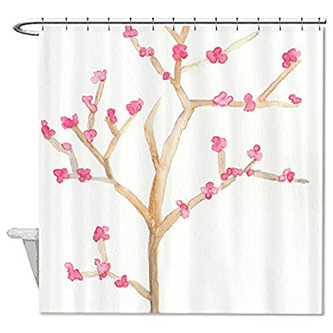 whiangfsoo Pink Cherry Blossom Blumen Badezimmer Decor Wasserdicht Polyester Duschvorhang
