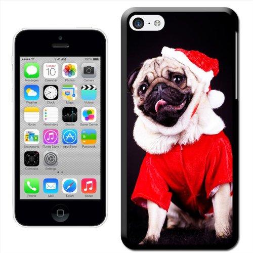 Fancy A Snuggle 'Carlin déguisé en Père Noël avec cadeaux de Noël' Coque arrière rigide à clipser pour Apple iPhone 5C Pug Dressed As Santa Claus